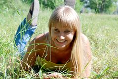 Blonde on a meadow Stock Photo