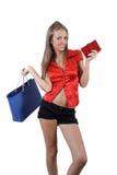 Blonde meisje van Shoping Stock Afbeeldingen