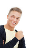 Blonde mens met appel Royalty-vrije Stock Fotografie
