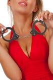 Blonde met handcuffs Stock Afbeelding