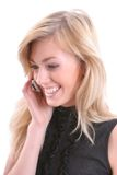 Blonde met mobiel Royalty-vrije Stock Afbeeldingen