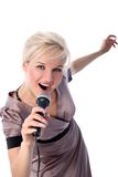 Blonde with mic isolated in white Royalty Free Stock Images