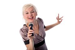 Blonde with microphone Royalty Free Stock Photo