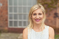 Blonde middle-aged woman with medium-length hair Royalty Free Stock Photo