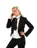 Blonde with mobile. Royalty Free Stock Photography
