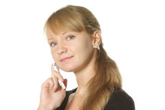 Blonde with mobile phone Royalty Free Stock Photo