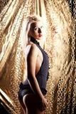 Blonde model in back lingerie Royalty Free Stock Photo