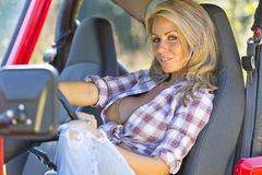 Blonde Model With Car Royalty Free Stock Photography