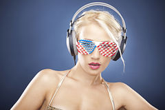 Blonde model with glasses Stock Photos