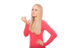 Blonde model are going to taste diet cracker Stock Photos