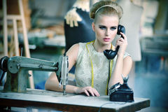 Blonde model in a  interior Royalty Free Stock Photos