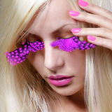 Blonde model with long sexy eyelashes Stock Photos
