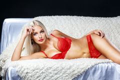 Blonde model with lovely long hair and a curvaceous body posing Royalty Free Stock Image