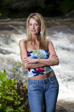 Blonde Model Near Waterfall Stock Images