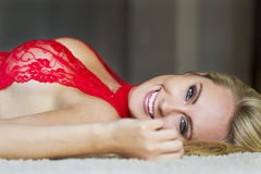 Blonde Model in Red Lingerie Stock Photos
