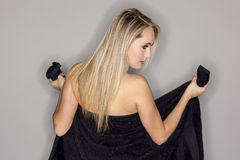 Blonde Model Showing Personal Hygene Royalty Free Stock Images