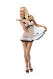 Blonde model wearing white lingerie Stock Images