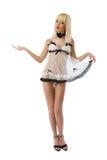 Blonde model wearing white lingerie Stock Photography