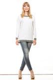 Blonde moderne Frau im weißen Hemd Lizenzfreie Stockbilder