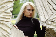 Blonde and monument stock images