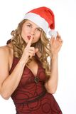 Blonde Mrs Santa Claus ask for silence please! Stock Photo