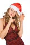 Blonde Mrs Weihnachtsmann bitten um Ruhe bitte! Stockfoto