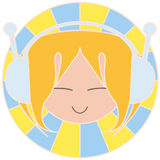 Blonde music girl. A blonde haired girl listening to music and wearing headphones. Digital illustration Royalty Free Stock Photo