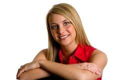 Blonde na camisa vermelha Fotografia de Stock