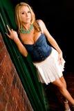 Blonde na mini saia 'sexy' foto de stock royalty free