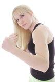 Blonde na posição da luta Fotos de Stock