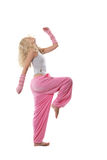 Blonde na roupa cor-de-rosa Fotografia de Stock