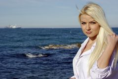 Blonde near sea Stock Photo