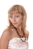 Blonde in the necklace Stock Images