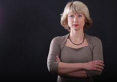 Blonde no backgrounde preto imagem de stock royalty free
