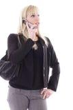 Blonde no telefone de pilha Fotografia de Stock