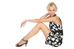 Blonde no vestido à moda foto de stock royalty free