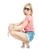 Blonde in occhiali da sole fotografia stock libera da diritti