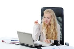 Blonde in the office Stock Photography