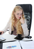 Blonde in the office Royalty Free Stock Image