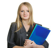 The blonde with official papers Royalty Free Stock Image
