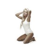 Blonde ondergoedschoonheid Stock Foto's