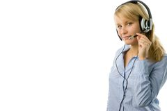 Blonde operator. Portrait of attractive business woman with headset isolated over white background with large area for your text Royalty Free Stock Photo