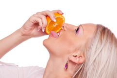 Blonde with orange Stock Photo