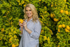 Blonde Outdoor Model With Fruit Tree Stock Images