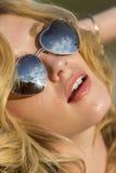 Blonde Outdoor Model Wearing Sunglasses Stock Photos