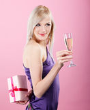 Blonde party girl royalty free stock photos
