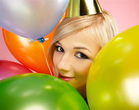 Blonde party girl Royalty Free Stock Image