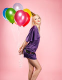 Blonde party girl Stock Photo