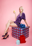 Blonde party girl Royalty Free Stock Images