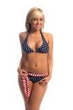 Blonde patriote de bikini photographie stock